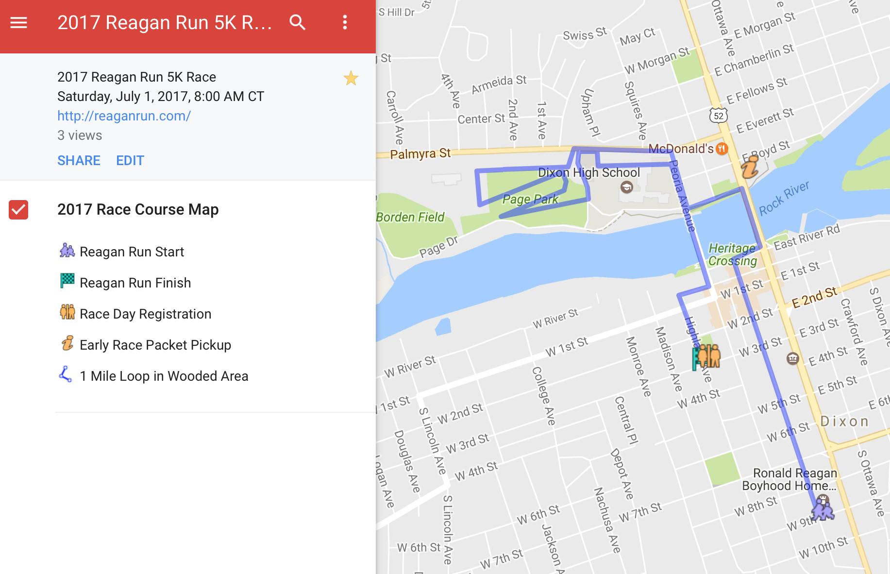 2017 Reagan Run Map